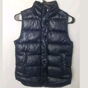 J Crew Shiny Quilted Puff Vest Navy B1160
